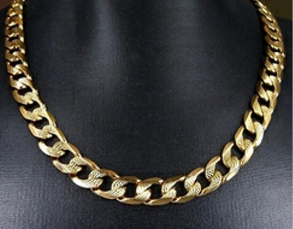 mejor selección 575ce 44add Compre Collar Para Hombre De 22K Oro Amarillo GP 24 Collar De Eslabones De  9 Mm De Ancho Tamaño Perfecto Encantador A $31.16 Del Honey79 | DHgate.Com
