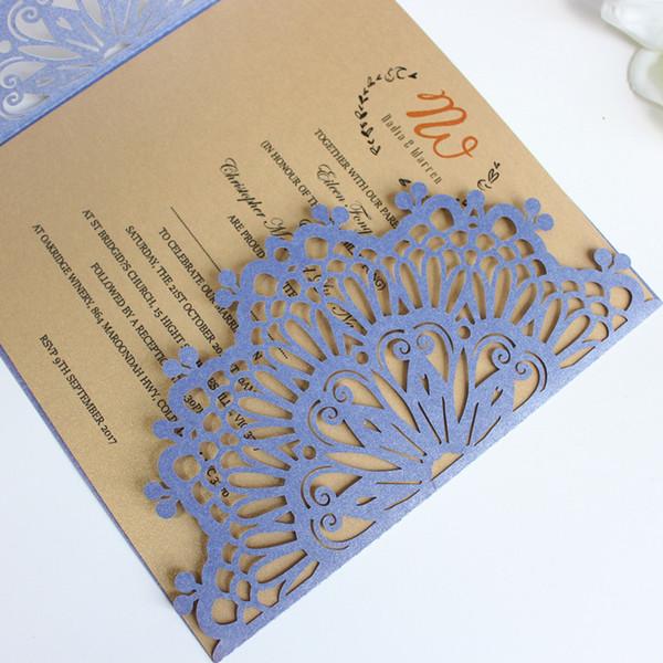 Compre Las Tarjetas De Invitación Vintage De Color Azul Marino Envuelven Con Una Hoja Interna De Corte Nupcial Ducha De Acción De Gracias Graduagtion