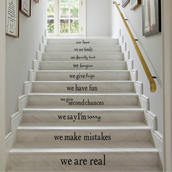 DIY Wall Stickers Stairs Decal Home Decor Decoracao Para Casa Wallpaper Wall Art 54X86cm Stairs Sticker Living Room Stickers Black Colour