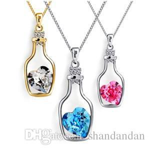 Austrian Crystal Wishing Drifting Bottle Pendant Sparkle gem Love Heart Necklaces Fashion jewelry cute gifts for women girls free shipping