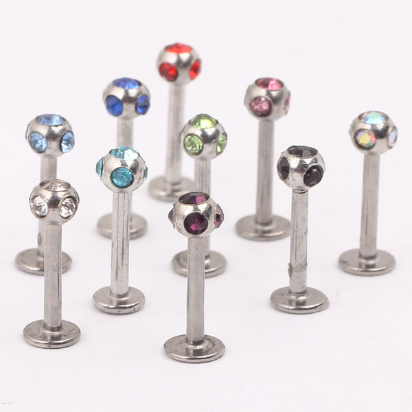Lip stud L12 mix 10 color 100pcs steel body jewelry lip piercing labret ring