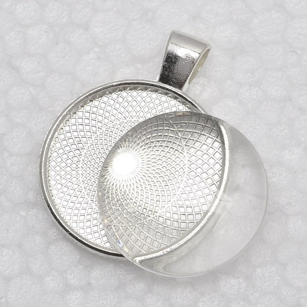 best selling 1 inch Pendant Trays + glass cabochon set, Blank Pendant Bases, 25mm Bezel Pendant Settings for Glass or Stickers