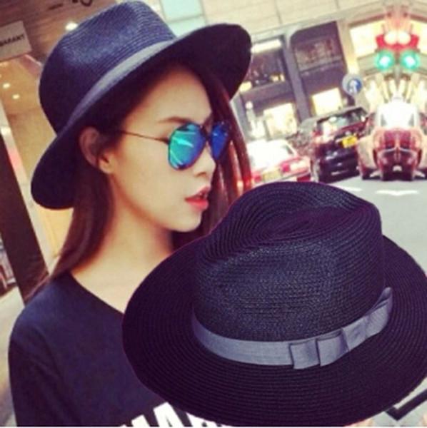 Wholesale-Fashion Womens Mens Fedora Trilby Gangster Jazz Cap Summer Beach Sun Straw Hat Black Ribbon Straw Beach Chapeaux