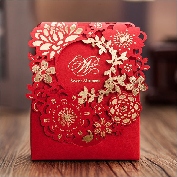 Red Sweet Wedding Candy Box 50pcs Gold Paper Laser Cut Flower Chocolate Gift Boxes as Wedding Favors New Arrival