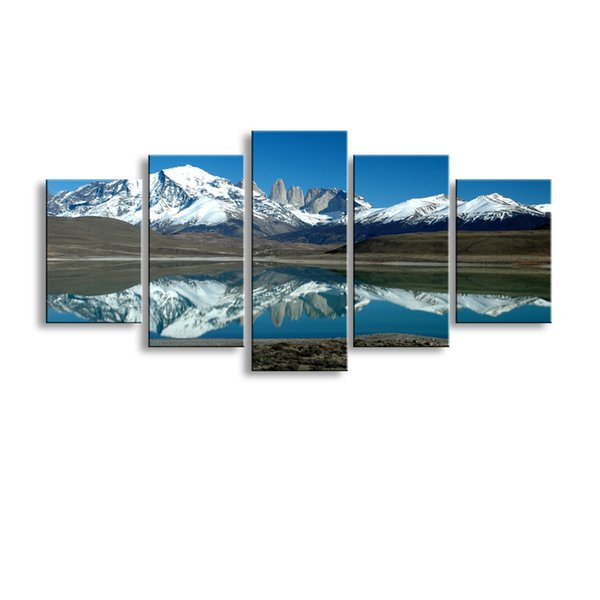5 pieces high-definition print Pulse snow canvas oil painting poster and wall art living room picture PL5-205
