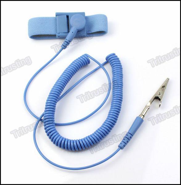 top popular NEW Anti Static Antistatic ESD Adjustable Wrist Strap Band Grounding electrostatic belt Blue MQ100 2019