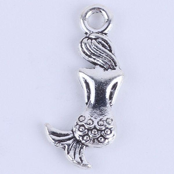 Nueva moda de plata / cobre retro Sirena Colgante Fabricación DIY joyería colgante en forma de collar o pulseras charm 500 unids / lote 5402w