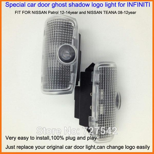 2X Latest LED Car door laser projector ghost shadow logo light For NISSAN Patrol 12-14year and NISSAN TEANA 08-12year+Free ship
