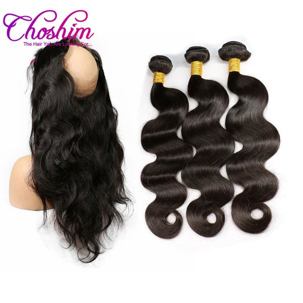 Choshim 360 Lace Frontal Closure With Bundles Brazilian Body Wave 3 Bundles and 1Pcs 360 Frontal With Baby Hair Remy Hair
