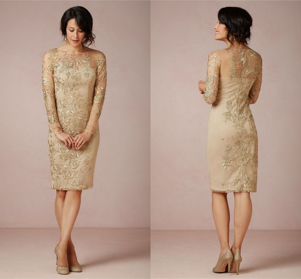Sheath Gold Embroidery Mother of the Bride Dresses Appliques Illusion Neck Knee Length Formal Dresses Plus Size Charming Evening Dress 2015