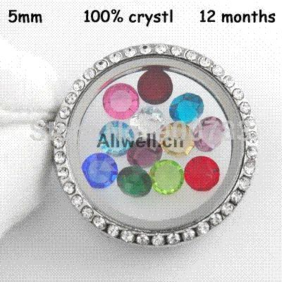 Free shipping Mixed 120PCS 100% Crystal Birthstone 5mm floating charms for LIVING LOCKETS (Jan.-Dec. 10pcs of each month)