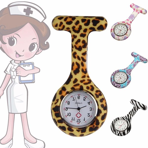 Free Shipping World Hot Medical Nurse FOB Pin Zebra Silicone Watch Leopard Color Stripe Style Pocket Watch Free DHL