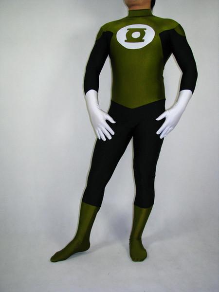 Army Green & Black Green Lantern Superhero Costume Halloween Cosplay party zentai suit