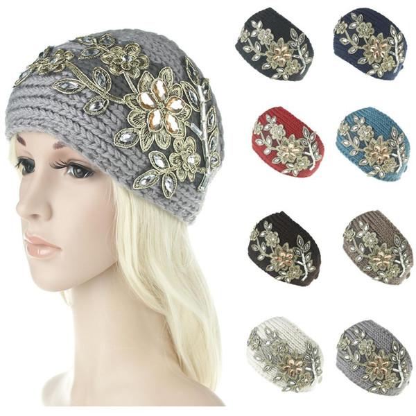 Women Embroidery Flowers Crystal Headband Wool Crochet Headband Knit Hair band Winter Warm headbands Ear Warmer Headwrap Hair Accessories