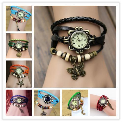 Moda Örgü Deri Takılar Saatler Kadınlar Kuvars Bilek Saatler Kolye Kanat Kelebek Kalp Eyfel Kulesi Denizyıldızı Ay Taç Mix Renkler
