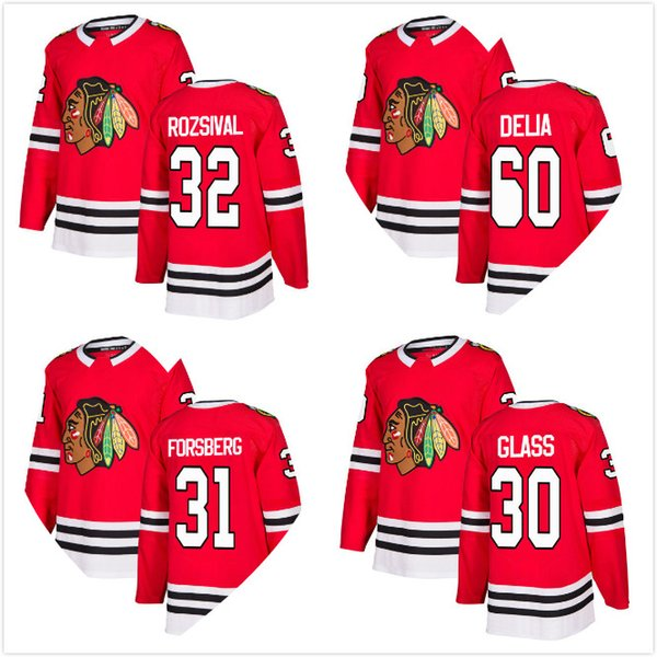 Jeff Glass 2018 New Mens Chicago Blackhawks Michal Rozsival 60 Collin Delia  31 Anton Forsberg Hockey Jersey Red Home All Stitched A C 932d221e1