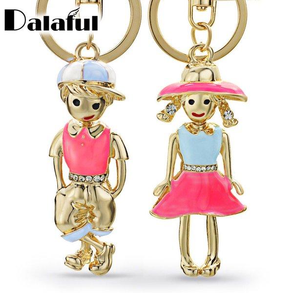 Beijia Mädchen Junge Für Liebhaber Geschenk Schlüsselanhänger Ringe Halter Paare Kristall Tasche Anhänger Für Auto Schlüsselanhänger KeyChains Chaveiro K249