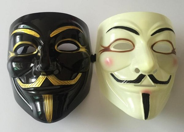 Mixed order V for Vendetta White black Yellow Mask with Eyeliner Nostril Anonymous Guy Fawkes Fancy Adult Costume Halloween Mask 50pcs