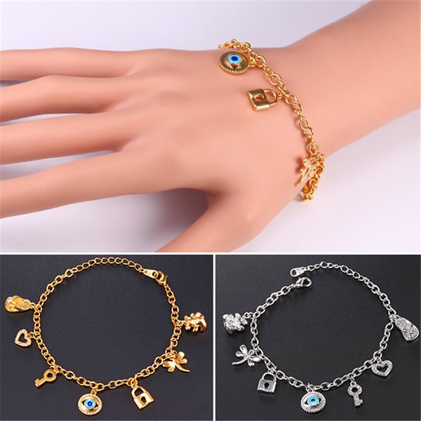U7 New Evil Eye Link Chain Charms Bracelet 18K Gold Plated Key Lock Bear Hearts Dragonfly Charm Bangles Bracelet For Women Jewelry H5184
