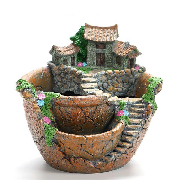 New Design Resin Garden Cactus Succulent Plant Pot Herb Flower Planter Box Nursery Pots Home Room Decor Ornament Garden Tools