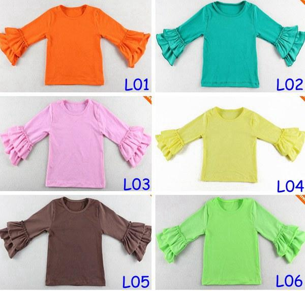 top popular 2015 Hot Sale Girls Wear Harem tops Chidlren 2Layer ruffle shirts Girls Ruffle tutu tops 14Colors Choose Freely 5Size for 1-8T 2021