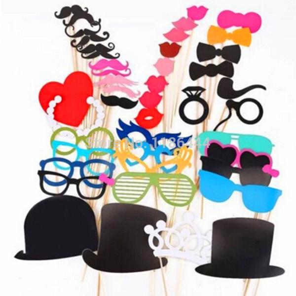 Kostenloser Versand 1 Satz von 44 stücke Photo Booth Props Gläser Schnurrbart Lip Auf Einem Stock Hochzeit Geburtstag Party Fun Favor JIA056