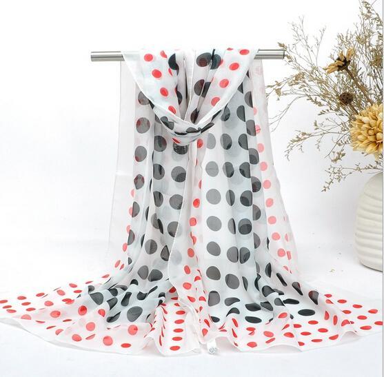HWJ133 Hot selling New Fashion Big Dot Printing Silk Chiffon Women Elegent Beach Scarf 10colors.High level.160x50cm.30pcs/lot Free Ship