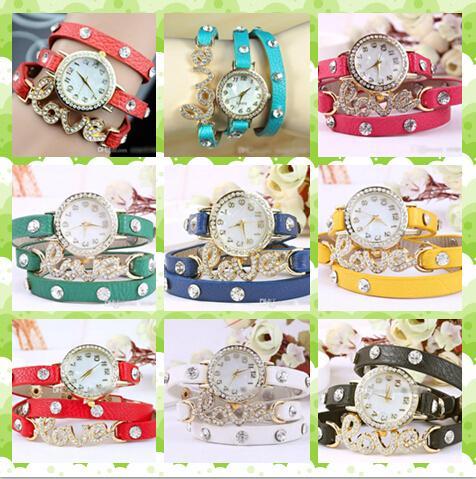 Fashion Crystal Rhinestone Paved Love Style Charm Leather Wrapped Bracelet Watch Women Quartz Watches wrap around bracelet watch
