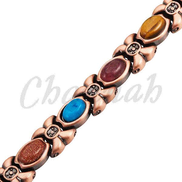 2015 Women Magnetic 14pcs Colorful Semi-Precious Stones Copper Plating Bracelet Ladies Jewelry Free Shipping via Hong Kong Post
