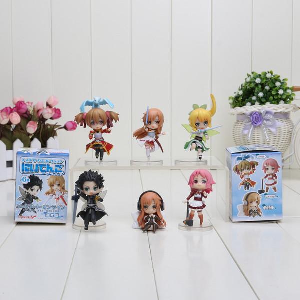 6pcs / set épée en ligne 6CM fée danse Kirito Asuna Lefa PVC figurines jouets