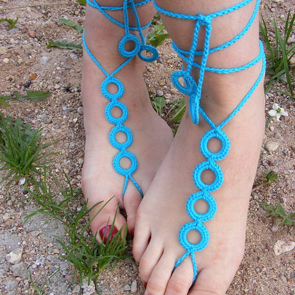White Hand Crocheted Barefoot Sandals- Garden annular sandals - Crochet Sandals, Sexy simple Sandals, Nude Shoes, Lace