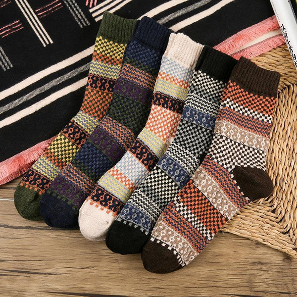 best selling 5Pair Mens Women Soft Thick Angora Cashmere Casual Rabbit Wool Blend Warm Winter Socks RF0538