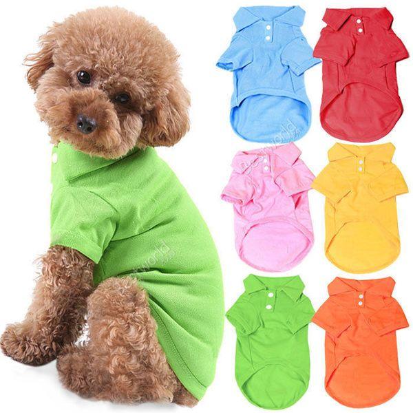 Pet Dog Cat Puppy Polo T-Shirt Completi Abbigliamento Outfit Abbigliamento Cappotti Tops Abbigliamento Taglia XS S M L XL Spedizione gratuitaDropShipping L010