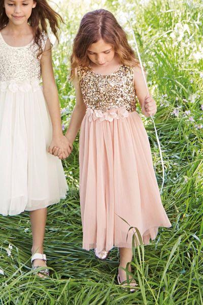 2020 New Arrival Pretty Cheap vestido de daminha Sequined Chiffon Mid-Calf Pink Flower Girl Dresses for Weddings