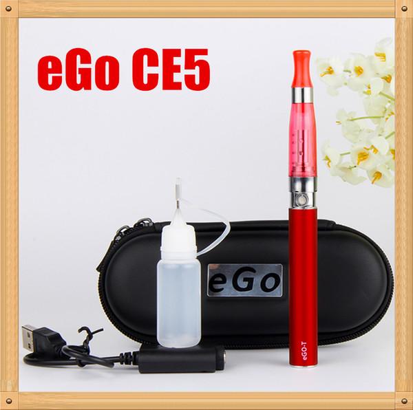 Ego CE5 atomizer starter kit e cig singl kit Electronic cigarette 650 900 1100mah battery EGO-T kit Zipper case Clearomizer E-cigarette ecig