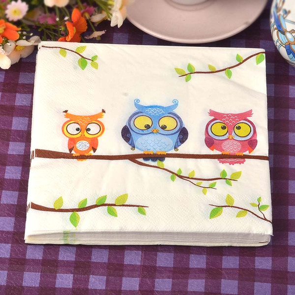 Food-grade table paper napkins tissue cute printed pattern animal owl cat dog bear decoupage home hotel wedding party cocktail decorative