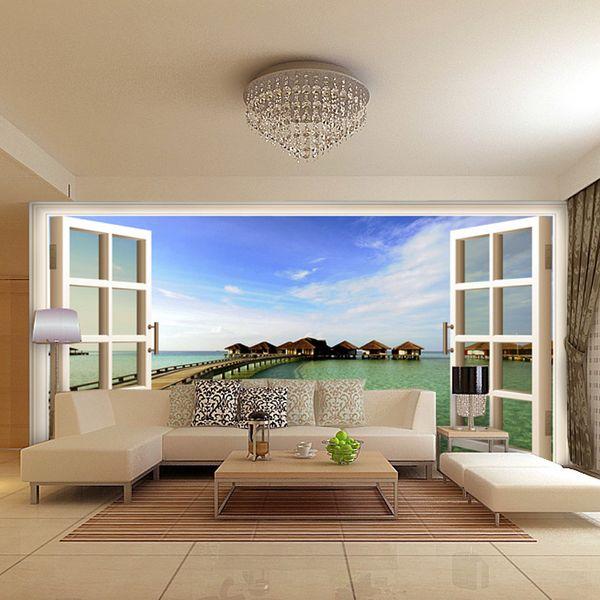 Moda moderna falsa janela oceano paisagem art personalizado mural 3d papel de parede tv sofá fundo quarto bebê crianças papel de parede adesivos de parede