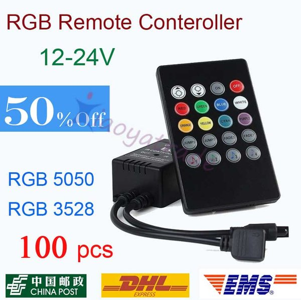 100X 20 Key Music Voice Sensor Controller Sound Activated IR Remote Control Practical Home Party RGB LED Strip dhl free shipping