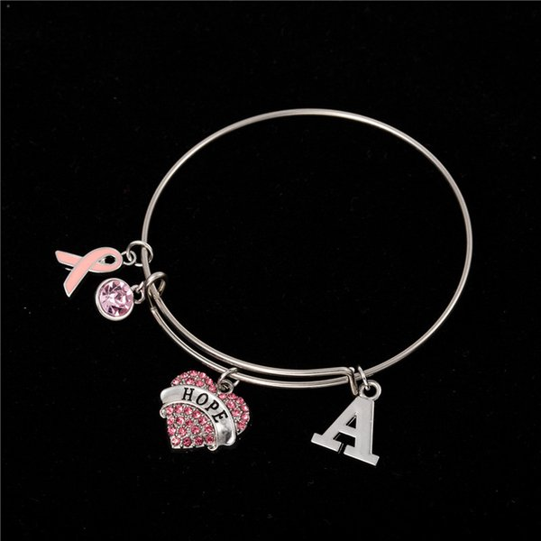 Myshape Cool Fashion Stainless Steel DIY Charms Bracelet Diameter 70mm Pink Crystal Heart Letter A Ribbon Pendant Bangle Wristbands