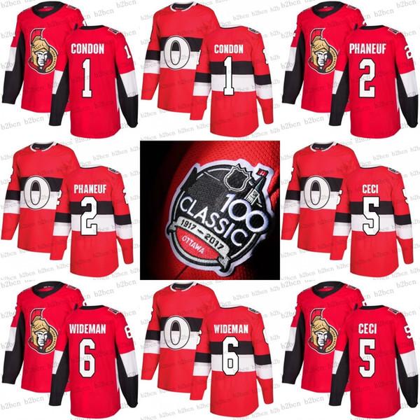 2017 100 maillots classiques des Sénateurs d'Ottawa 1 Mike Condon 2 Dion Phaneuf 5 Cody Ceci 6 maillot rouge personnalisé de Chris Wideman