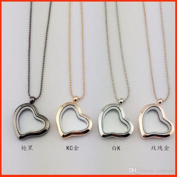 4 colores Locket flotante diamantes del corazón marcos de vidrio transparente colgantes de los encantos flotantes con cadena de 70 cm joyería DIY 160794
