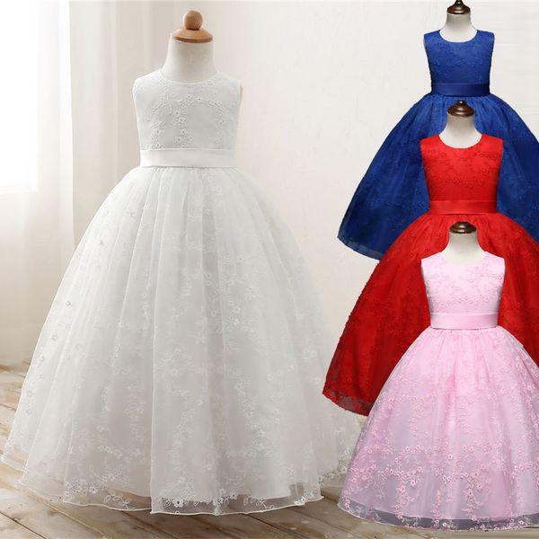 Abiti per bambini Prom Gown Disegni Little Baby Girl Party Frocks Flower Girl Bianco Tulle Abito da sposa Girl Clothes