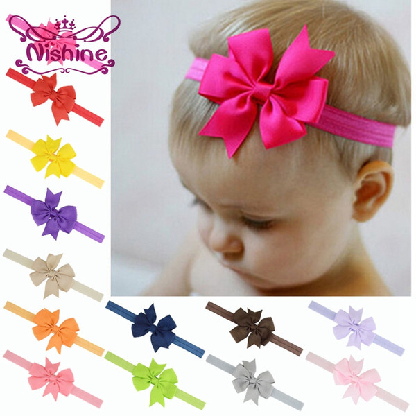 Nishine 3inch Fashion Ribbon Bow Headband Baby Girls Bowknot Headbands Hair Bands Hair Ties Hair Accessories (Color:20 Colors)