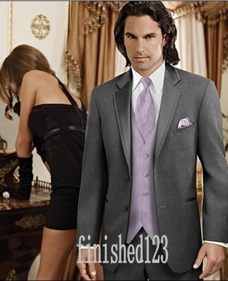 Custom Made Two Button Charcoal Gray Groom Tuxedos Notch Lapel Groomsmen Best Man Wedding Prom Dinner Suits (Jacket+Pants+Vest+Tie) G5143