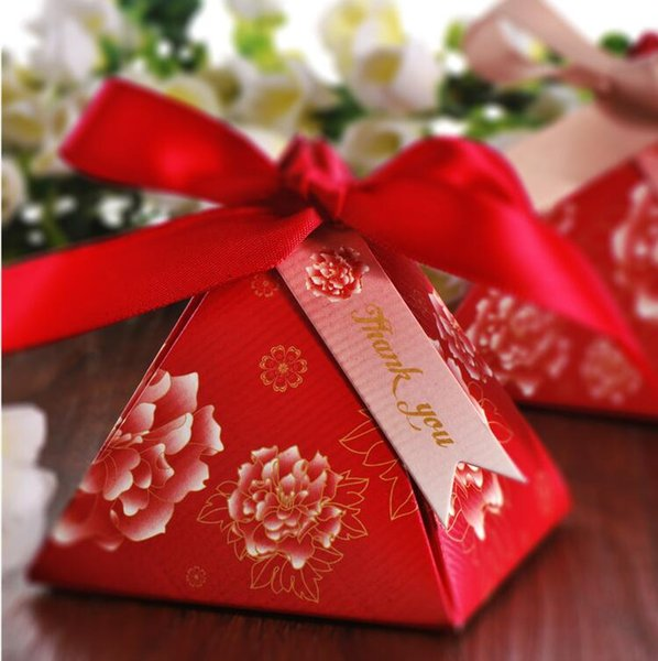 100 Pcs Chinese red Pearl paper triangle pyramid Wedding box Candy Box gift boxs wedding favour boxes TH167