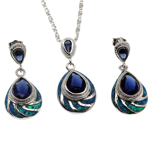 925 Sterling Silver Jewelry Sets Natural Opal Teardrop Blue Sapphire Hot Sale Pendant Necklace Earring Christmas Gifts OPJS2