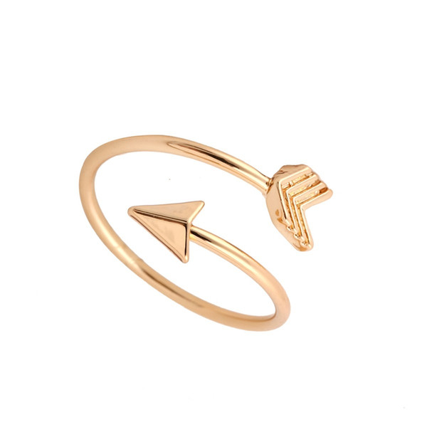 Wholesale- yiustar 2017 New Arrow Ring Gold Silver Pink Simple Party Dainty Female Arrow Rings Unique Adjustable Rings for Women R008