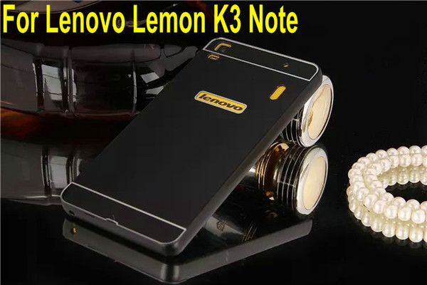 Wholesale-2015 Hot Lenovo Lemon K3 Note Metal Case Acrylic Back Cover & Aluminum Frame Set Phone Bag Cases for Lenovo K3 Note