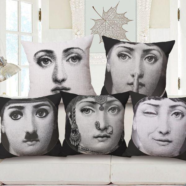 25 styles Beauty Girl Face Housse de coussin sur mesure Fornasetti Taie d'oreiller 45X45cm Creative Art Design Canapé Décoration Canapé Taie d'oreiller Cadeau
