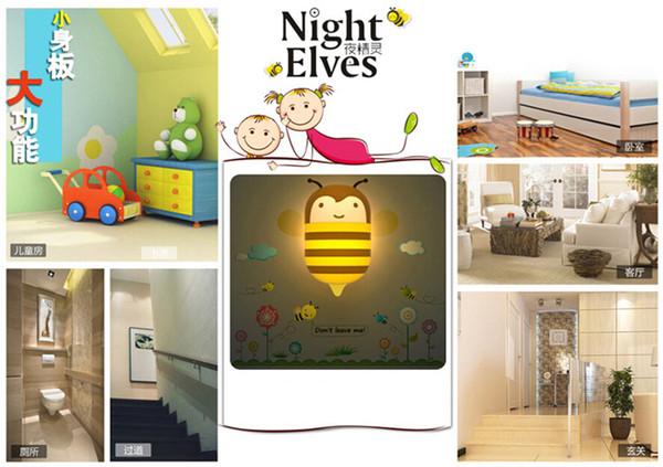 Creative wallpaper elf controlled night light 10pcs a bag , LED energy-saving night light sensor, cartoon scene try Nightlight